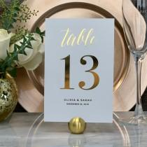 wedding photo - Wedding Table Number, Gold Table Numbers, Elegant Wedding Table Numbers, Personalized Gold Foil Table Numbers, Single Sided or Double Sided