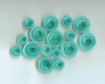 wedding photo - Robin's Egg Blue Handmade Spiral Paper Flowers, Mini Rolled Flowers, Aqua Paper Flowers, Beach Themed Wedding, Darling paper spirals