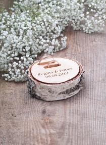 wedding photo - Rustic Ring Bearer Pillow, Wedding Wood Slice, Personalized Ring Box, Wooden Ring Bearer Pillow, Wedding Ring Holder, Wood Ring Dish