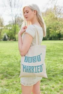 wedding photo - Just Married Tote - Bridal Tote Bag - Wedding Tote Bag - Just Married Wedding Tote - Honeymoon Beach Bag - Bride Gift - bachelorette party
