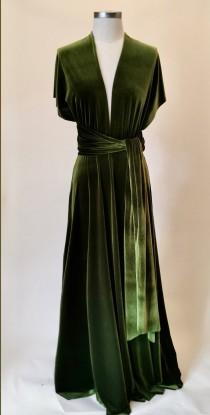 wedding photo - Olive green velvet dress, infinity dress, bridesmaid dress, prom dress, ball gown, long dress, multiway dress, convertible dress, party dres