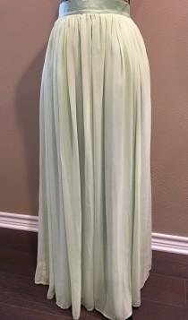 wedding photo - Sage Green Skirt Bridesmaid Dress Chiffon Maxi Skirt Long Wedding Skirt Womens Custom Skirt Bridesmaids Skirt Engagement Skirt Maxi Skirt