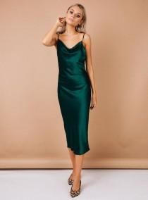 wedding photo - dark green satin bridesmaid dress, wedding dress, bridesmaid dresses, custom dress, long dress