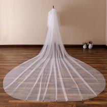 wedding photo - Simple Soft Tulle Wedding Veil,Plain Edge Bridal Veil,Cathedral Veil,Chapel Bridal Veil,Classic Veil, 13 ft 2 tier Super Long Veil with comb