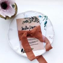 wedding photo - Terracotta hand dyed silk+cotton ribbon for bridal bouquet Rustic wedding ribbon Silk invitations ribbon