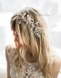 """wedding photo - Boho Leaf Flower Wedding Headpiece in Gold, Rose Gold or Silver, """"Emmaline"""""""