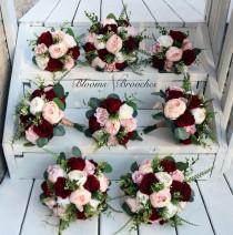 wedding photo - Wine Blush and Ivory Boho Wedding Bouquets, Bridal Bouquet, Bridesmaids bouquet, Artificial Wedding Flowers, Boho Wedding, Burgundy Flowers,