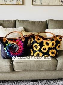 wedding photo - Sunflower, Purse, Sunflower tote bag, sunflower purse, tie dye purse, tie dye tote, tie dye sunflower, beach bag, sunflower hand bag