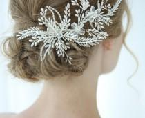 wedding photo - Bridal large headpiece white floral Silver leaf Crystal bead Hairpieces Hair comb Accessory elegant Bride veil clip Wedding Gift