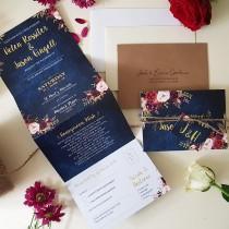 wedding photo - Navy WIld Floral Wedding Invitation, Floral Concertina Wedding Invitations Or Reception Invitation With Envelope, Tag & Rustic Twine
