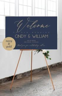 wedding photo - Navy and Gold Welcome Wedding Sign Template, Navy Wedding Welcome Sign, Editable Template, Welcome Wedding Board, Wedding Sign, 201