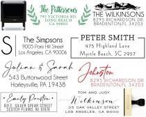 wedding photo - Personalized Return Address Stamp Self Ink 3 Line Modern Business Family Wedding Stamper Custom Stamps