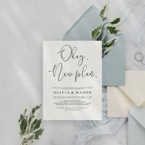 wedding photo - Change of Plan Template, Wedding Postponement Card Template, Save the new date, Change the Date Card, New Wedding Plan Announcement Change