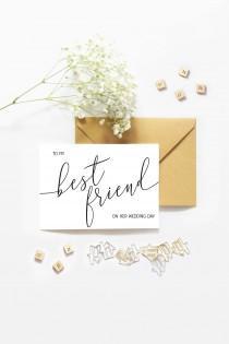 """wedding photo - Best Friend Wedding Card """"To My Best Friend On Her Wedding Day"""" Elegant Cursive Card - A2 Wedding Card - Bestie Wedding - BFF Married Card"""