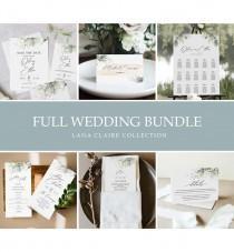 wedding photo - Lana Claire Green & Gold Wedding Bundle, Large Wedding Essential Templates, 100% Editable Text, Greenery Wedding, Instant Download, Templett