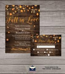 wedding photo - Rustic Fall Wedding Invitations Printed and Shipped to You - Includes Invitation, Self Mailing RSVP Card, and Envelopes - Wedding-107