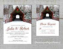 wedding photo - Romantic Rustic Christmas Wedding Invitation,Covered Bridge,Evergreen Wreath,Snow,Pine Tree Forest,Red Barn Wood,Rustic Fence,Printed