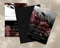 wedding photo - Printable Dark Moody Floral Wedding Invitations, Printable Dark Floral Invitations, Moody Floral Wedding Invitation Template, Templett