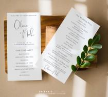 wedding photo - Elegant Minimal Wedding Program Template, Wedding Ceremony Program Template, Printable Wedding Program - Olivia