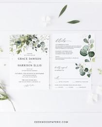 wedding photo - Eucalyptus Wedding Invitation Template, Greenery Wedding Printable Invitation Set, Bohemian Wedding Invitation Suite Instant Download, #002