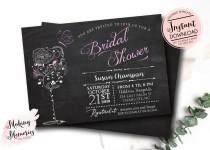 wedding photo - Wine & Butterfly Bridal Shower Printable Invitation, Wine BRidal Shower, Brunch and Bubbly, Wedding Shower, Wine Tasting, Hen party