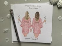 wedding photo - Congratulations You're Engaged Personalised Handmade Card - Wedding Gifts/ Engagement Best Fiend Sister **CUSTOMISE HAIR STYLES **