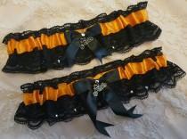 wedding photo - Harley Davidson Inspired Biker Wedding Garter Belt Set w/ Black Lace & Studs