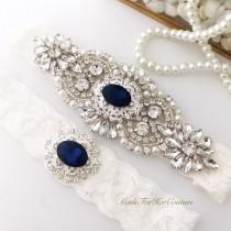 wedding photo - Navy blue accented rhinestone wedding garter/bridal garter