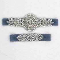 wedding photo - Bridal Garter Set, ANTI SLIP Something Blue Wedding Garter Set