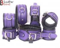 wedding photo - Real Cow Leather Wrist, Ankle Thigh Cuffs Collar Restraint Bondage Set Purple Black 7 Piece Padded Cuffs