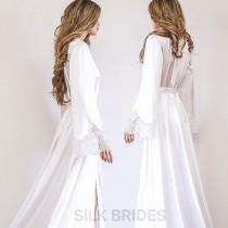 wedding photo - Long Sexy Bridal Robe with Train, Maxi Lace and Satin Dressing Gown, Luxury Bridal Gift