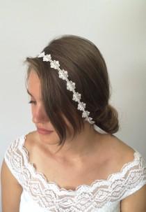 wedding photo - Bridal Hair Wrap, Lace Headband, Bridal Headband, Rhinestone Hairband, Flower Headband, Bridal Headpiece, Bride Gift, Wedding Hair Jewelry