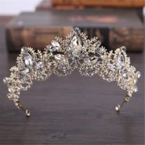 wedding photo - Gold Tiara Crystal Tiara,Wedding Tiara,Princess Crown,Rhinestone Tiara,Bridal Tiara,Wedding Accessories,Bridal Headpiece,Wedding Crown