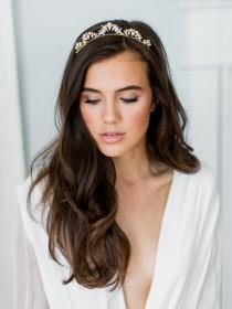 wedding photo - LIA crystal pearl tiara bridal comb, glamorous delicate art deco wedding crown, glam vintage scalloped boho headpiece