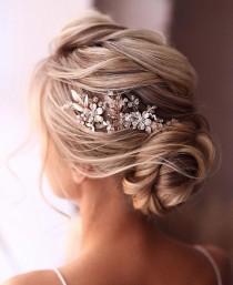 wedding photo - Wedding hair piece Bridal hair piece Bridal hair comb rose gold Wedding hair comb Wedding Hair Accessories rose gold Wedding Comb Rose Gold