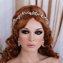 wedding photo - ROSE GOLD or Silver Bridal Vine Headpiece Hair Wreath Head Piece Accessory Weddings Brides Wedding Bride Party Floral Jewelry Accessories