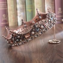 wedding photo - Baroque Diamond Crown//Hair Band//Bridal Crown//Wedding Crystal Hair Accessory//Wedding Gift
