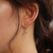wedding photo - Diamond Earrings, Diamond Huggies, 14K / 18K Huggie Hoop Earrings, Dangle Charm Earrings, Diamond Dangle Earrings, 13mm Huggie Earrings
