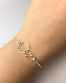 wedding photo - Two Entwined Circles Sterling Silver Bracelet, Sterling Silver Double Circle Bracelet, Sterling Silver Eternity Bracelet, Bridesmaid Gift