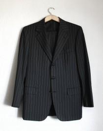 wedding photo - BRIONI Palatino vintage wool black white striped suit
