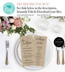 wedding photo - Wedding Program Printable Template - Printable Wedding Program - Wedding printable - Editable Program 4X9.25 Downloadable wedding #WDH301_11