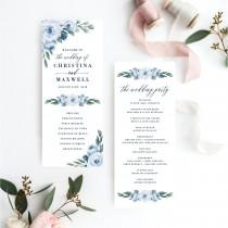 wedding photo - Wedding Programs Template, Wedding Program, Colors and Text Fully Editable, Dusty Blue Floral and Navy, Edit with Templett, 118