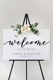 wedding photo - Modern Script Wedding Welcome Sign Template, Ceremony Sign Reception Sign Printable, Instant Download, Editable and Customizable MR27 MRV27