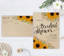 wedding photo - PRINTED Sunflower bridal shower invitation with recipe card