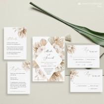 wedding photo - Boho Wedding Invitation Blush Orchid Invitation Pampas grass wedding template Palm Leaf Printable Invitation Bohemian Modern Invite PAMELA