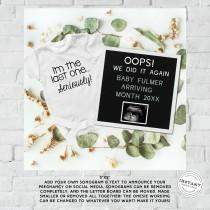 wedding photo - Oops We Did it Again Neutral Pregnancy Announcement