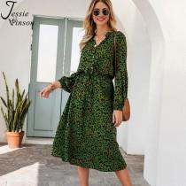 wedding photo - Jessie Vinson Vintage Leopard Print Midi Dress Women Casual Long Sleeve Stand Collar Tunic Long Dress Robe Femme Vestidos Autumn