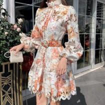 wedding photo - Floral Embroidery Hollow Out Lace Dress 2020 Women Ruffles Stand Collar Long Sleeve Dress 2020 Lantern Sleeve Single-Breasted Sashes Mermaid Mini Dress 2020