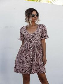 wedding photo - 2020 Summer Dress Women Floral Printed Pleated Dress Butterfly Short Sleeve Casual Loose Mini Dress V-Neck Ladies Dress Clothes