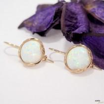 wedding photo - Rose Gold Earrings, 12mm Opal Earrings, Bridesmaid Earrings, Wedding Jewelry, Statement Earrings, Gemstone Earrings, Valentines Day Gift